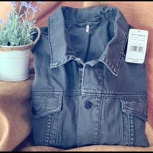 NWT Free People Gray Denim Trucker Jacket
